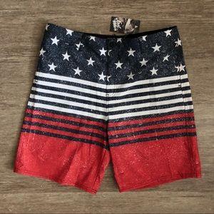 Boy's Stars and Stripes 4th of July Swim Trunks
